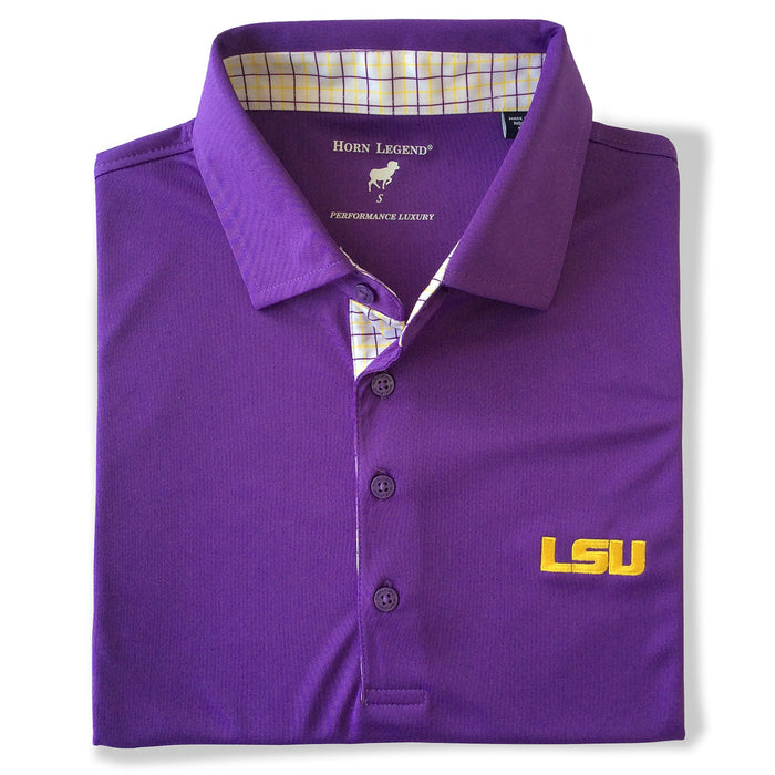 LSU Tigers Horn Legend Overpane Trimmed Performance Polo - Purple
