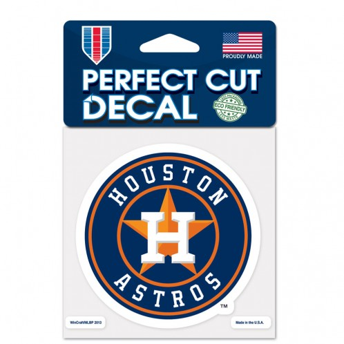 "Houston Astros Retro Round Perfect Cut 4""x 4"" Decal"