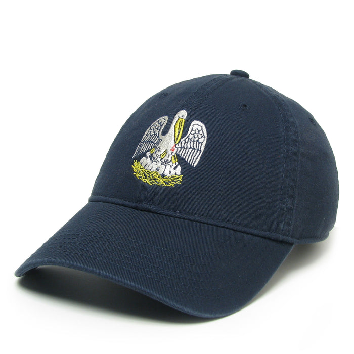 Homegrown Louisiana Flag Pelican Relaxed Twill Hat - Navy