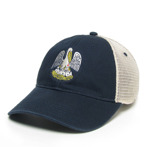Homegrown Louisiana Flag Pelican Relaxed Twill Trucker Hat - Navy