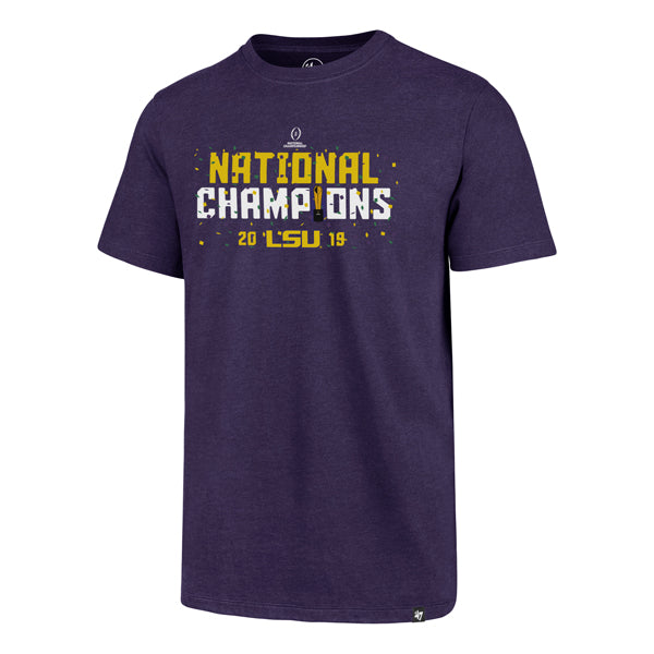 LSU Tigers 47 Brand 2019 National Champions Confetti Club T-Shirt - Purple