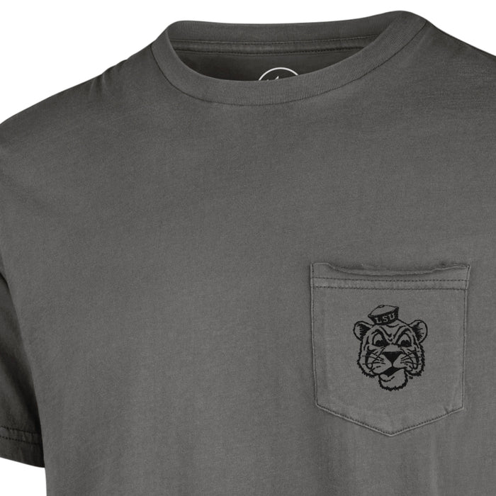 LSU Tigers 47 Brand Hudson Beanie Mike Garment Dyed Pocket T-Shirt - Grey