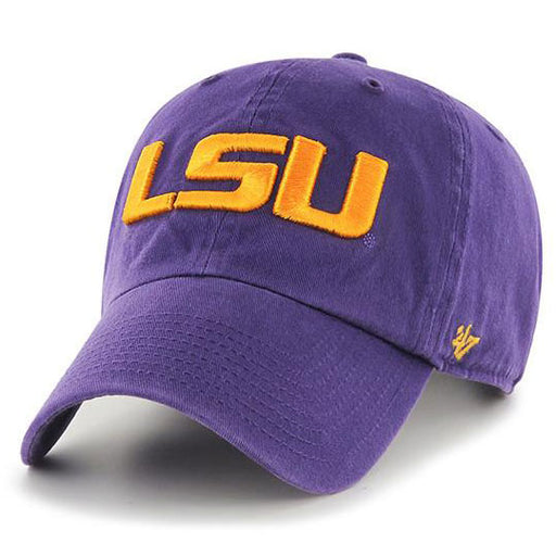 99970e5996bc52 LSU Tigers 47 Brand Geaux Font Clean Up Adjustable Hat - Purple