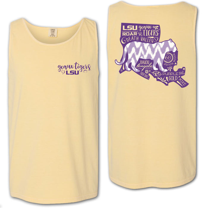 LSU Tigers All About Silhouette Tiger Garment Dyed Tank - Butter