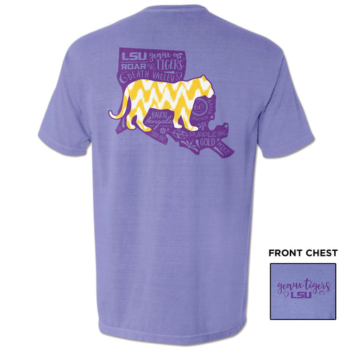 LSU Tigers All About Silhouette Tiger Garment Dyed T-Shirt - Violet