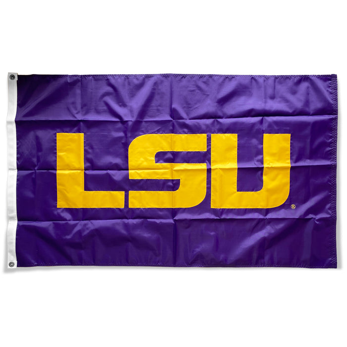 LSU Tigers Deluxe Embroidered Sewn Applique 3' x 5' Flag - Purple