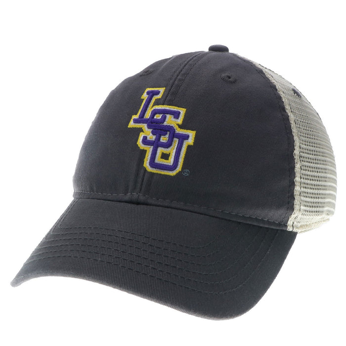 LSU Tigers Interlock Legacy Relaxed Twill Mesh Trucker Cap - Grey