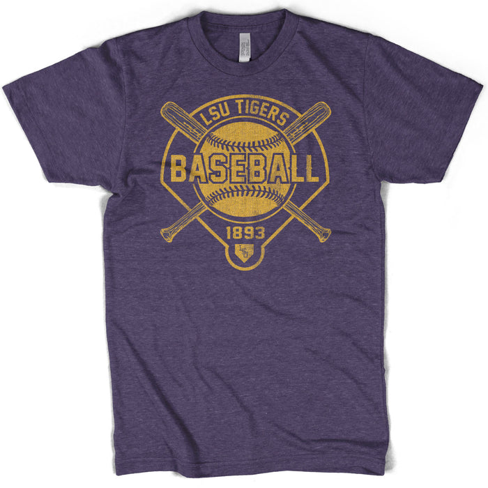 B&B Dry Goods LSU Tigers Baseball Walker T-Shirt - Imperial Purple