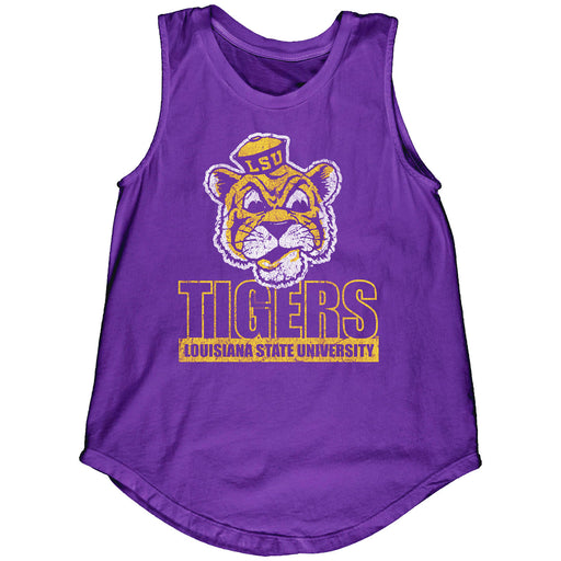 LSU Tigers Blue 84 Women's Beanie Mike Block Muscle Tank - Purple