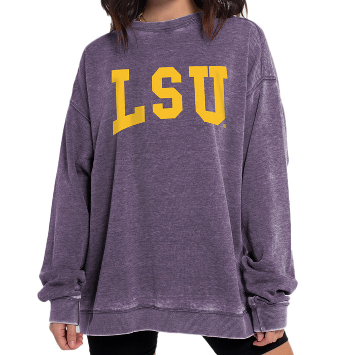 LSU Tigers Chicka-d Arch Burnout Crewneck Unisex Sweatshirt - Purple