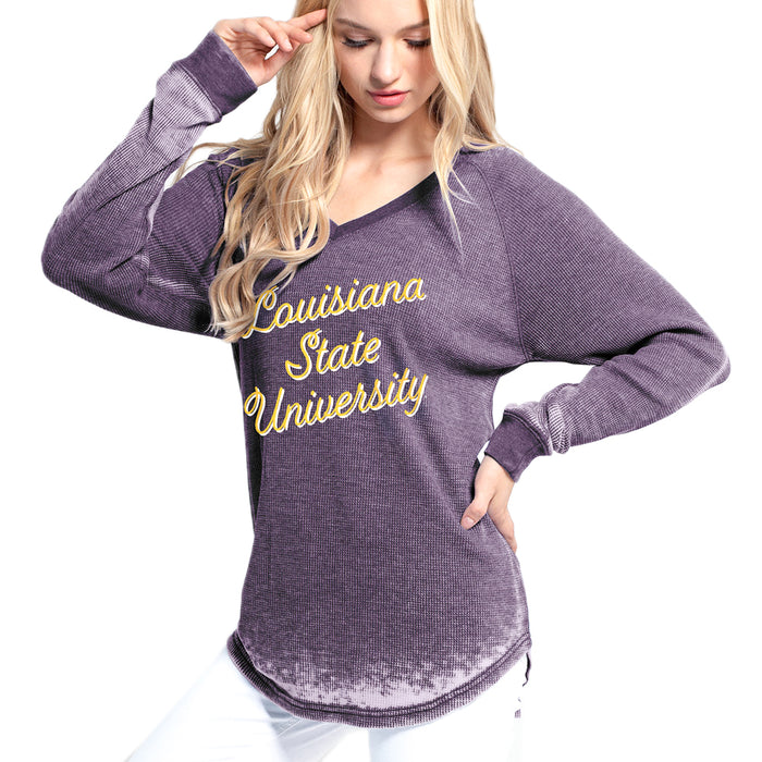 LSU Tigers Chicka-d Burnout Waffle Knit Long Sleeve T-Shirt