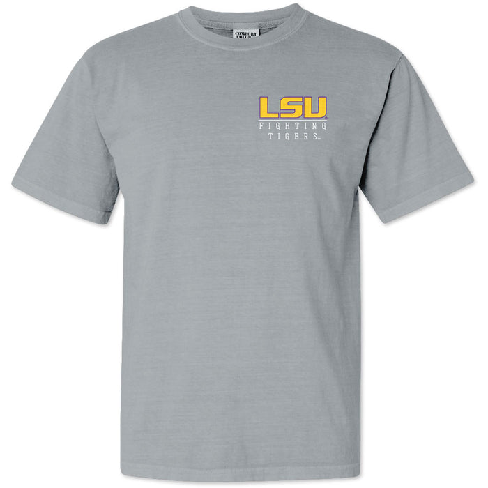LSU Tigers Baton Rouge Skyline Cityscape Garment Dyed T-Shirt - Grey