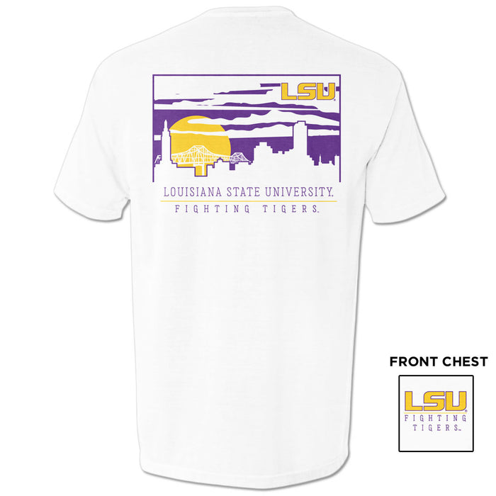 LSU Tigers Baton Rouge Skyline Cityscape Garment Dyed T-Shirt - White