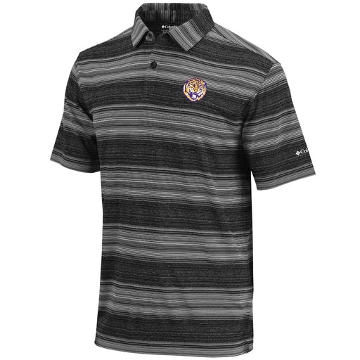 LSU Tigers Columbia Sportswear Round Vault Slide Stripe Polo - Black