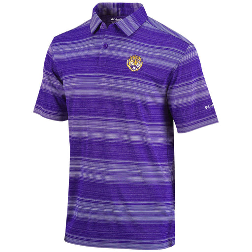 LSU Tigers Columbia Sportswear Round Vault Slide Stripe Polo - Purple