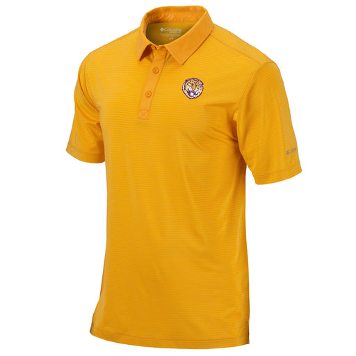 LSU Tigers Columbia Sportswear Round Vault Sunday Stripe Polo - Gold