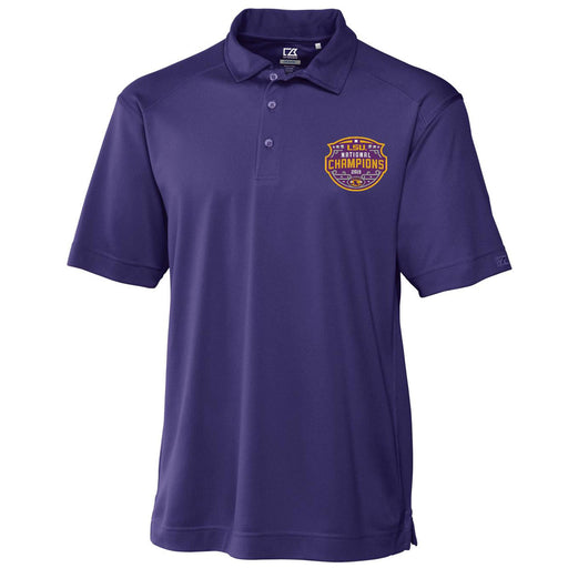 LSU Tigers Cutter & Buck Drytec Genre 2019 National Champions Polo - Purple
