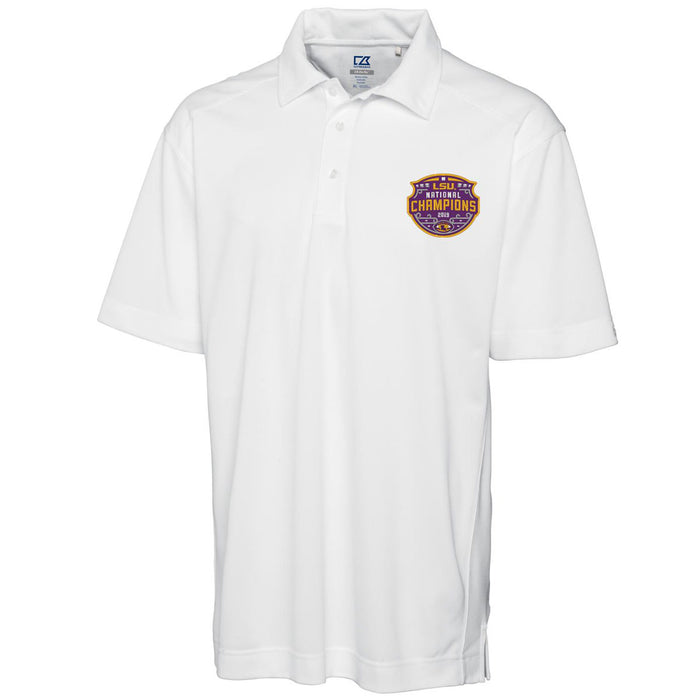LSU Tigers Cutter & Buck Drytec Genre 2019 National Champions Polo - White