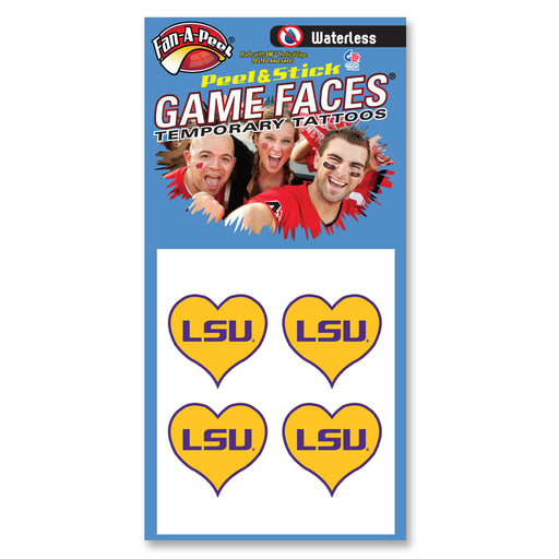 LSU Tigers Heart Waterless Face Tattoos - Gold