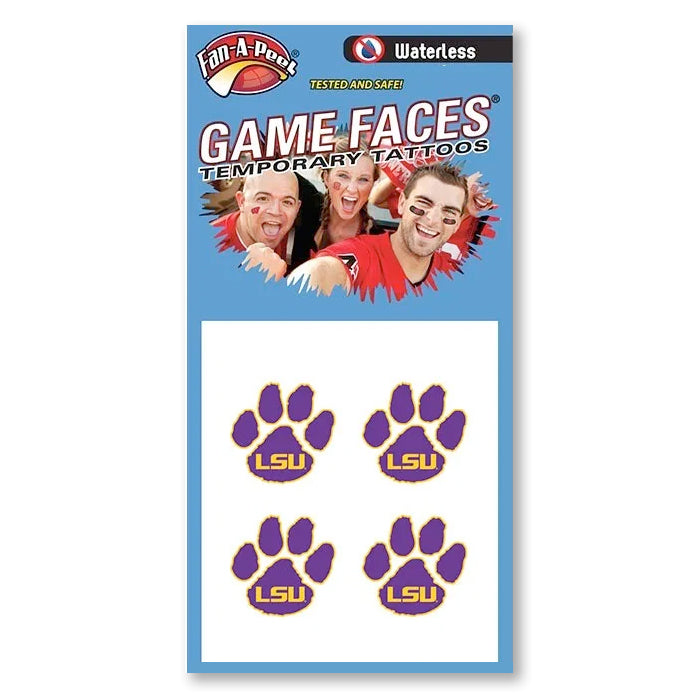 LSU Tigers Paw Print Waterless Face Tattoos
