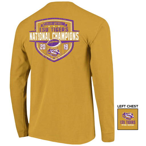 LSU Tigers 2019 National Champions Shield Garment Dyed Long Sleeve T-Shirt - Mustard