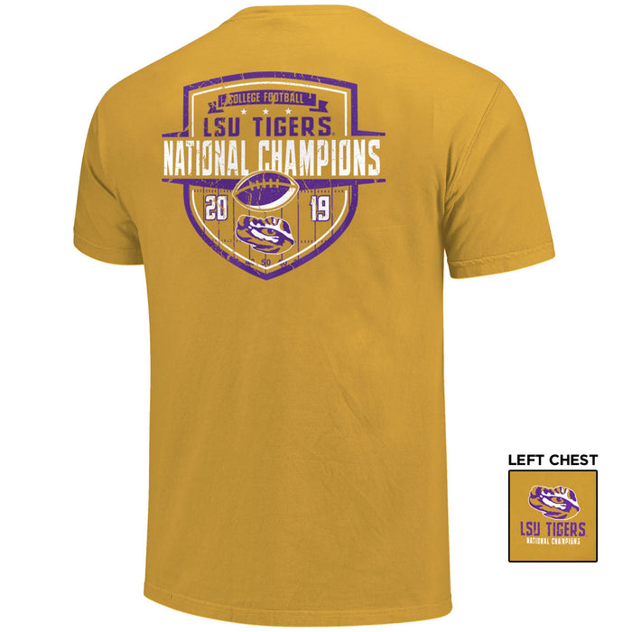 LSU Tigers 2019 National Champions Shield Garment Dyed T-Shirt - Mustard