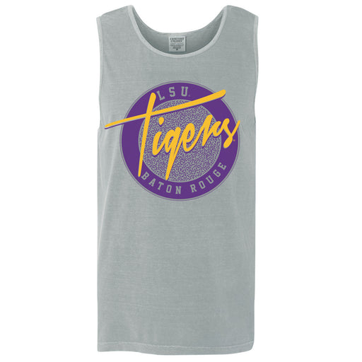 LSU Tigers 90's Circle Throwback Garment Dyed Tank - Granite