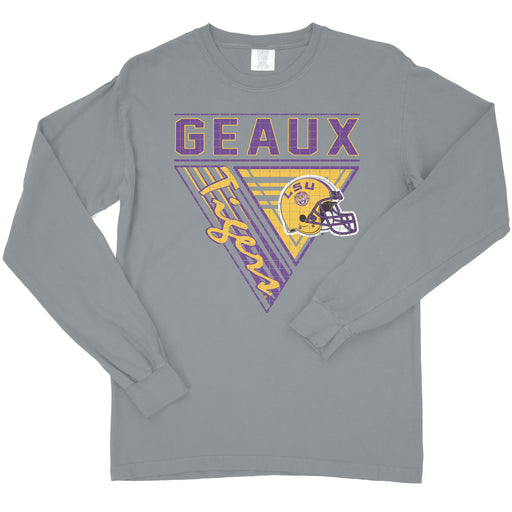 LSU Tigers 90's Football Triangles Garment Dyed Long Sleeve T-Shirt - Granite