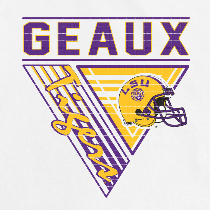 LSU Tigers 90's Football Triangles Garment Dyed T-Shirt - White