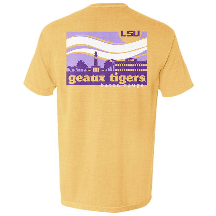 LSU Tigers Campus Waves Garment Dyed T-Shirt - Mustard