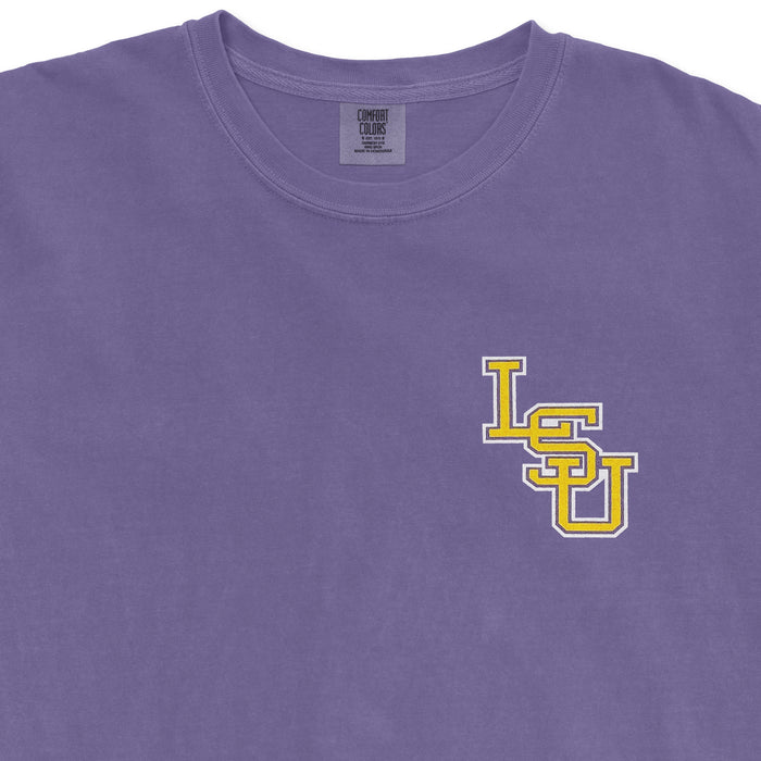 LSU Tigers State Outline Baseball Garment Dyed T-Shirt - Grape