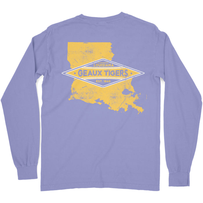 LSU Tigers Louisiana Team State Garment Dyed Long Sleeve T-Shirt - Violet
