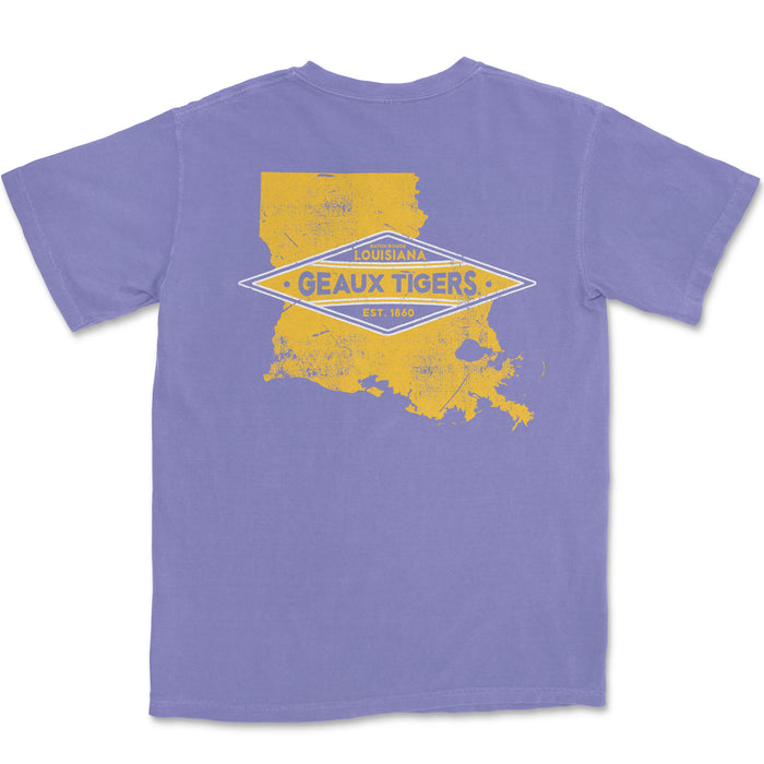 LSU Tigers Louisiana Team State Garment Dyed T-Shirt - Violet