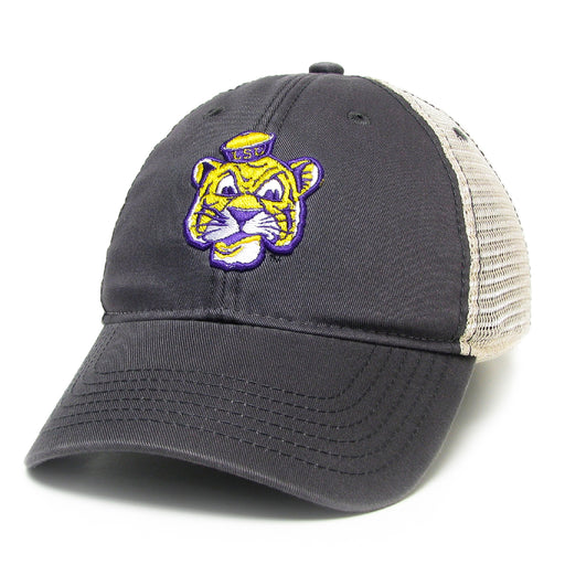 LSU Tigers Legacy Beanie Tiger Relaxed Twill Trucker Hat - Grey