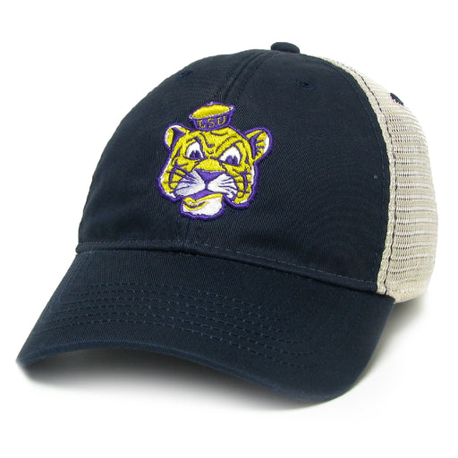 LSU Tigers Legacy Beanie Tiger Relaxed Twill Trucker Hat - Navy