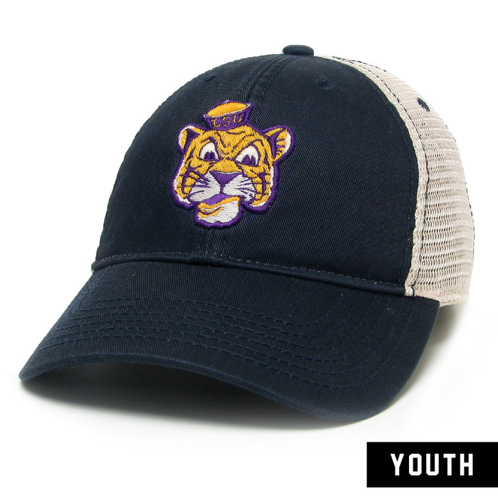 LSU Tigers Legacy Beanie Mike Relaxed Twill Youth Mesh Trucker  Hat - Navy