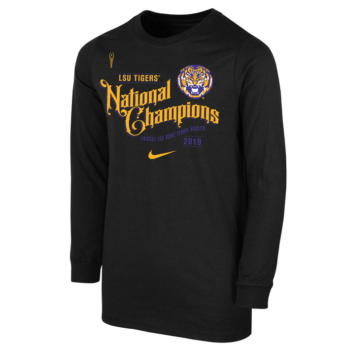 LSU Tigers Nike 2019 National Champions Celebration Youth Long Sleeve T-Shirt - Black
