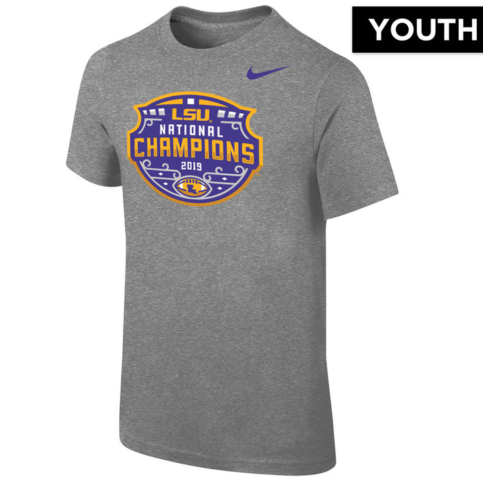 LSU Tigers Nike 2019 National Champions Celebration Icon Youth T-Shirt - Grey