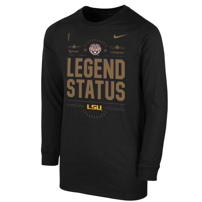 LSU Tigers Nike 2019 National Champions Legend Status Youth Long Sleeve T-Shirt - Black