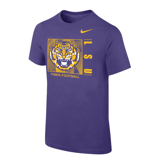 LSU Tigers Nike Tiger Football Youth T-Shirt - Purple