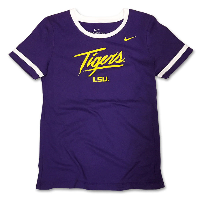 LSU Tigers Nike Youth Girls Fan Short Sleeve Ringer T-Shirt - Purple