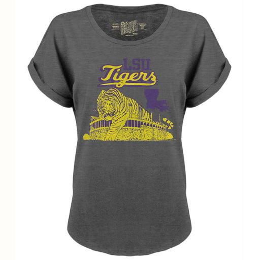LSU Tigers Retro Brand Stadium Women's Slub Rolled Sleeve T-Shirt - Charcoal