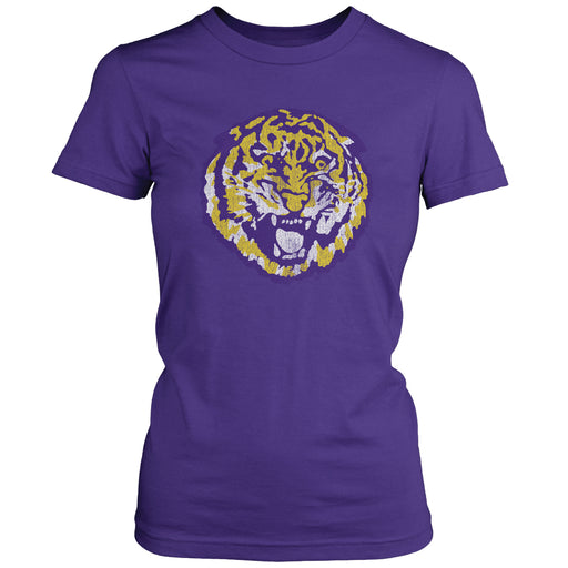 LSU Tigers Retro Brand Round Vault Women's T-Shirt - Purple