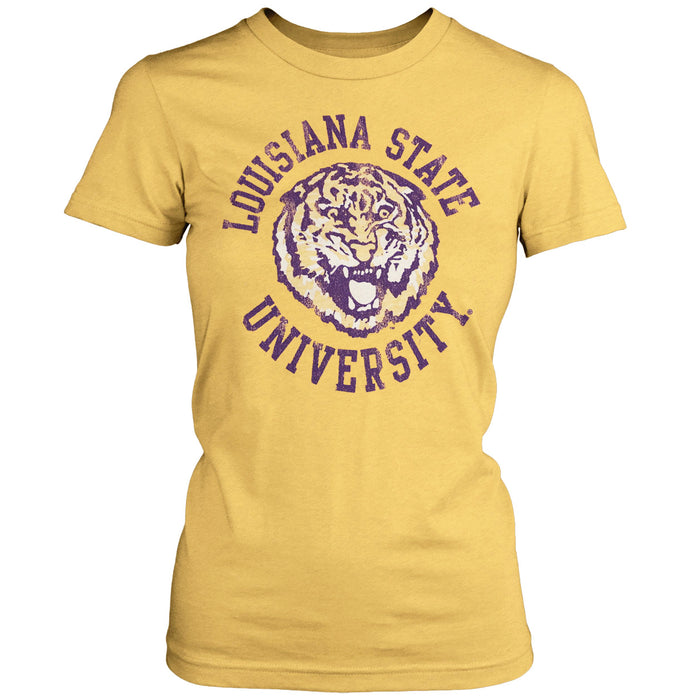LSU Tigers Retro Brand Round Vault Circle Women's Tri-Blend T-Shirt - Yellow