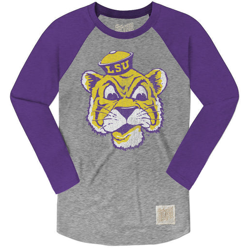 LSU Tigers Retro Brand Beanie Long Sleeve Raglan Tri-Blend T-Shirt - Purple