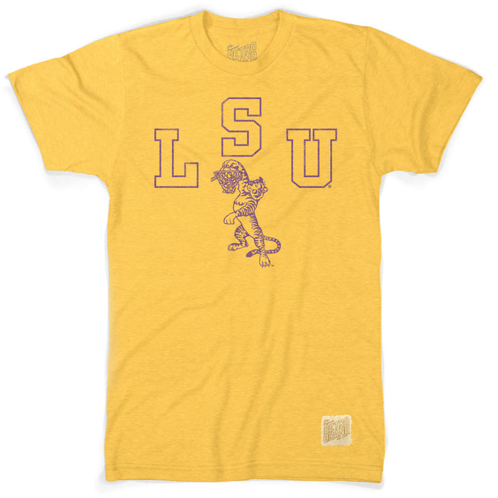 LSU Tigers Retro Brand Dunking Tiger Basketball Tri-Blend T-Shirt - Gold
