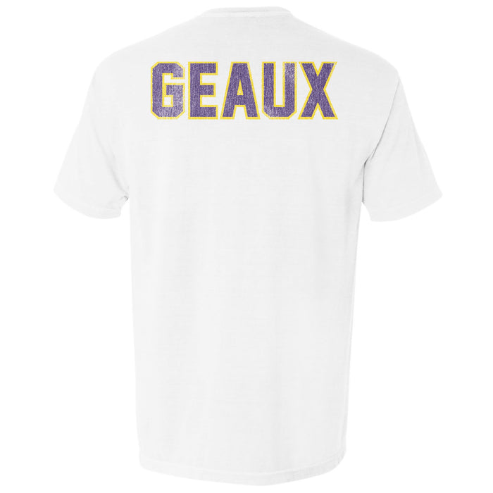LSU Tigers Retro Brand Beanie Mike Geaux Garment Dyed Pocket T-Shirt - White
