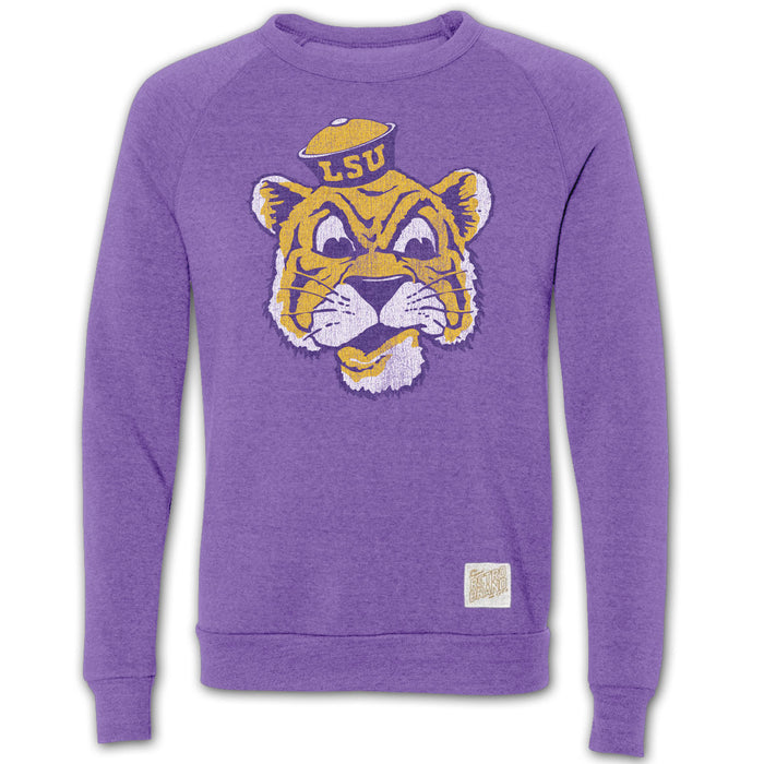 LSU Tigers Retro Brand Beanie Tiger Crewneck Sweatshirt - Purple