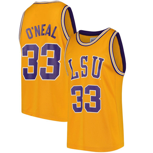Retro Brand LSU Tigers #33 Shaquille O'Neal Replica Basketball Jersey - Gold