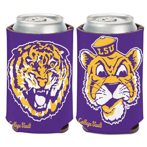 LSU Tigers College Vault Retro Double Sided Can Holder Koozie